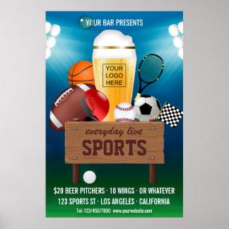 Póster O Promo do evento do bar de esportes adiciona o