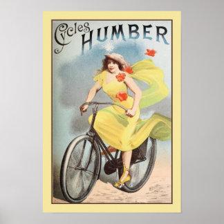Poster o vintage 1890 do Ca dá um ciclo o anúncio Humber