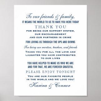 Poster Obrigado casamento dos azuis marinhos do sinal  