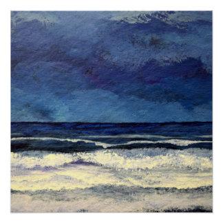 Póster Ondas calmas do surf da decoração da praia do mar