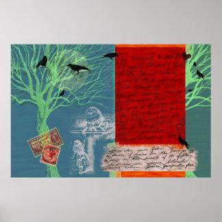 Poster original da colagem do abstrato da arte de
