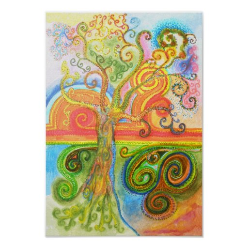 Poster ou impressão com a árvore colorida psicadél