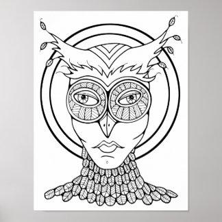 Poster Página adulta Cardstock da coloração da coruja do