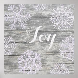 """Póster Palavras escritas """"Joy"""" em madeira com estrelas de"""
