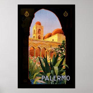 Poster Palermo das viagens vintage Pôster