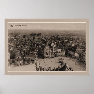 Poster Panorama de Mechelen Malines do vintage