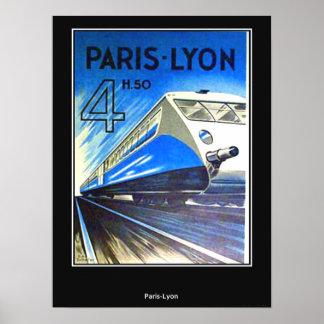 Poster Paris-Lyon France das viagens vintage