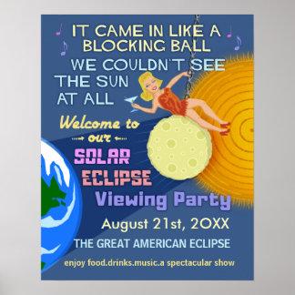 Póster Partido Sun retro engraçado do eclipse solar que