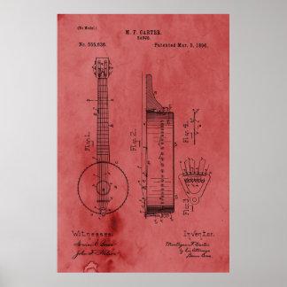 Poster Patente cor-de-rosa do banjo do vintage