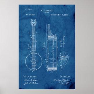 Poster Patente do banjo do modelo
