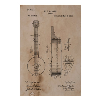 Poster Patente do banjo do vintage