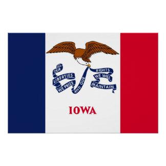 Poster patriótico da parede com a bandeira de Iowa
