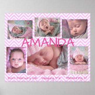 Poster personalizado multi imagem do rosa de bebê pôster