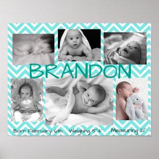 Poster personalizado multi imagem dos azuis bebés pôster