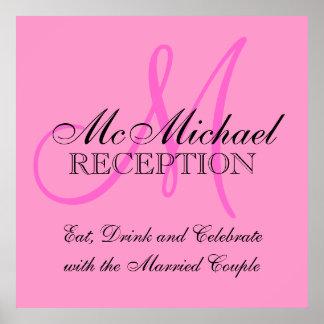 Poster personalizado rosa do sinal da recepção de