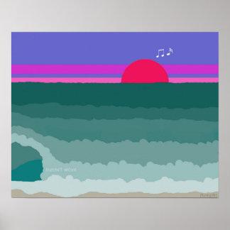 Póster Pintura digital original da onda do por do sol