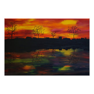 Poster Pôr do sol ao rio