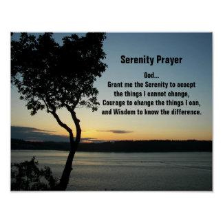 Poster Por do sol da noite da oração da serenidade