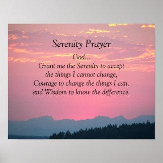 Póster Por do sol do rosa da oração da serenidade