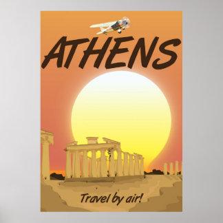 """Poster Por do sol dourado pelo ar de Atenas """"viagem"""""""