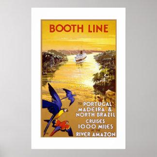 Poster Portugal Brasil das viagens vintage