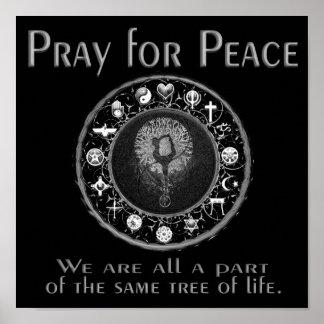 Póster Pray para a paz em preto e branco