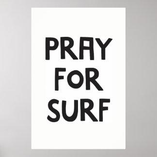 Póster Pray para o surf