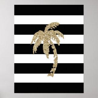 Poster preto/branco da palmeira do brilho do ouro,