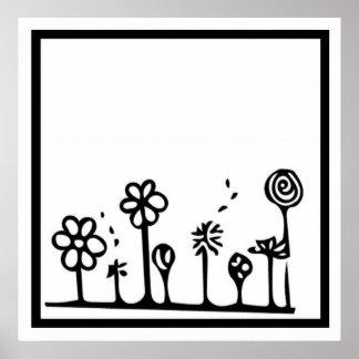 Poster preto e branco do desenho da flor