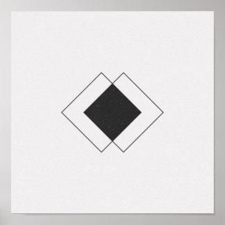 Poster preto e branco do diamante minimalista pôster