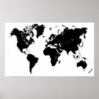 Poster preto e branco minimalista do mapa do mundo pôster