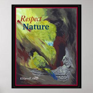 poster Preto-encapuçado da natureza do respeito do