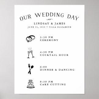 Póster Programação ilustrada do dia do casamento