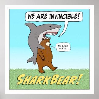 Poster quadrado invencível engraçado do tubarão e