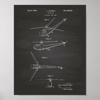 Poster Quadro da arte da patente do helicóptero 1944