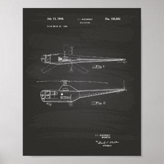 Poster Quadro da arte da patente do helicóptero 1948