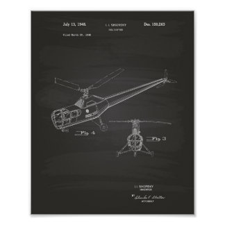 Póster Quadro da arte da patente do helicóptero 1948