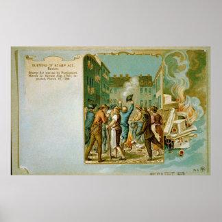 Poster Queimadura do ato do selo em Boston Massachusetts