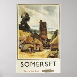 Poster Railway britânico da cena histórica da vila
