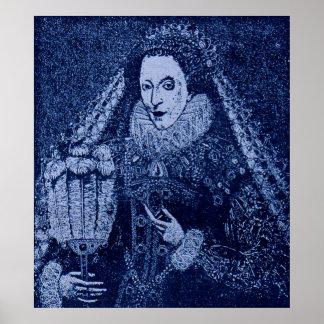 Poster Rainha Elizabeth mim no azul