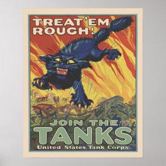 Póster Recrutamento das forças armadas do corpo do tanque