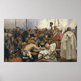 Póster Resposta de Ilya Repin dos Cossacks de Zaporozhian
