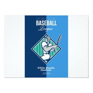 "Poster retro da liga de basebol do distrito convite 16.51"" x 22.22cm"