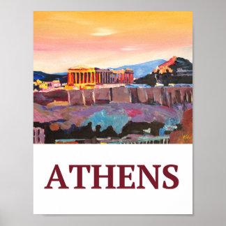 Poster retro da piscina de Atenas