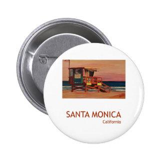 Poster retro da praia de Santa Monica Bóton Redondo 5.08cm
