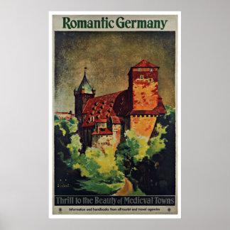 Poster romântico das viagens vintage de Alemanha