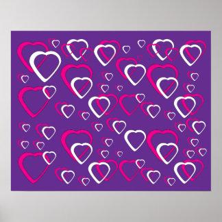 Poster Rosa e corações cortados branco