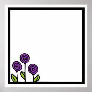 Poster roxo do desenho da flor