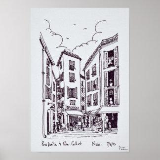 Poster Rua Droite & agradável velho do aro | da rua,