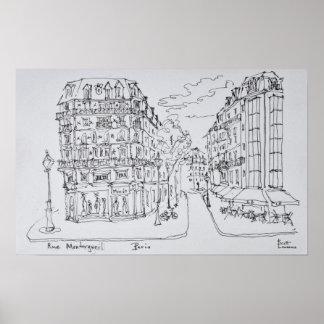 Poster Rua Montorgueil da rua | da compra, Paris, France
